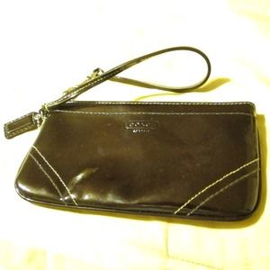 Dark Chocolate Patent Leather Coach Wristlet
