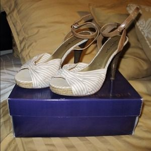 Shoes - Madden Girl Tan & White Striped Platform Sandals