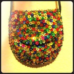✨Tiny vintage sequins necklace purse