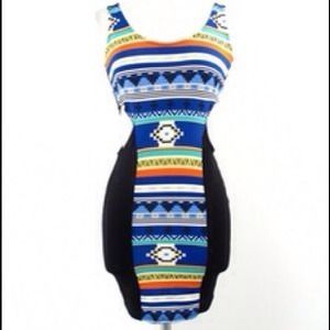 Sexy open sides tribal tank dress