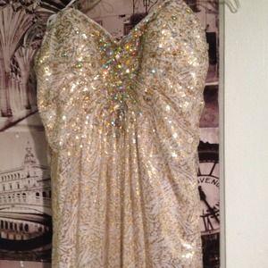 La Femme white/gold dress PRICE REDUCED!