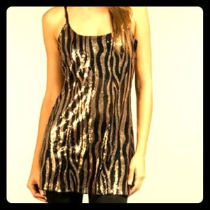 Free People Dresses & Skirts - ❌SOLD❌ Free People Bronze Sequin Zebra Slip Dress
