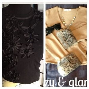 J. Crew Tops - Bundle sweater &Ribbon flowers black T SALE