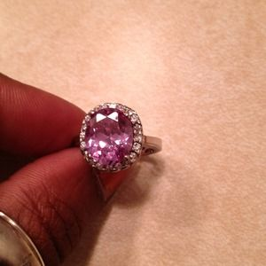 REDUCED Silver tone cocktail ring w/purple stone