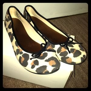 Shoes - Cream Leopard Print Ballet Flats