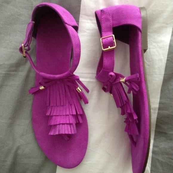 Fuchsia fringe sandals