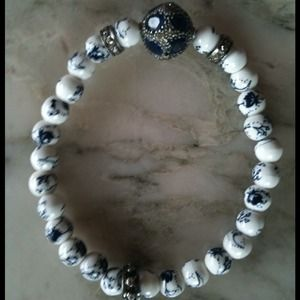 Pave diamond and sapphire bracelet.