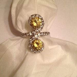 Jewelry - Canary and white CZ Swirl Cocktail Ring