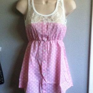 Tops - Cute Pink Polka Dot & Lace Top!