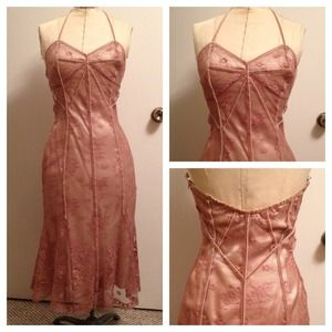 Arden B Dresses & Skirts - NWT Pink and Gold Lace Halter Dress Jewel Tie