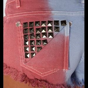 Tie dyed studded back pocket