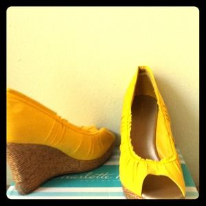Shoes - Yellow Peep Toe Wedge Heels