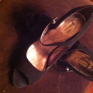 Black suede open toe evening shoes