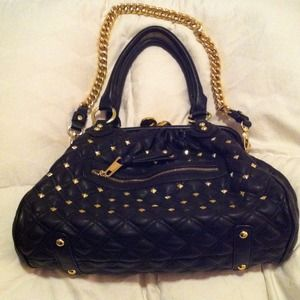 Handbags - Blk handbag w/gold pyramid shaped studs