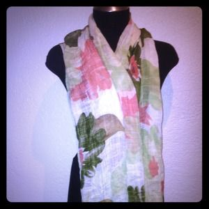 Green pink and white scarf