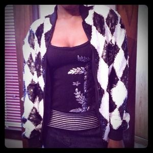 Vintage black and white sequin jacket