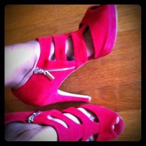 beautiful red suede open-toed booties with cutouts