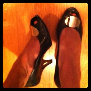 Shoes - black leather peep-toe pumps with silver appliqué