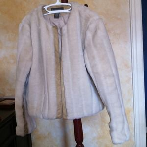 Banana Republic faux fur short coat with leather