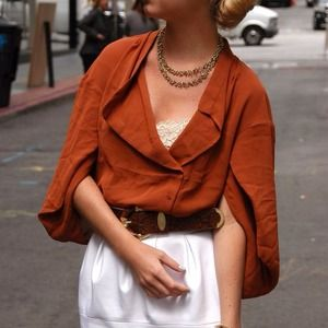 H&M Tops - Copper brown asymmetrical chiffon top