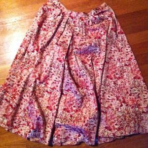 Dresses & Skirts - red, cream, and white flowered skirt