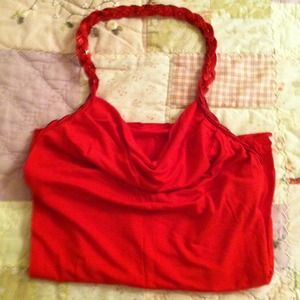 Red sequin drape-neck halter top