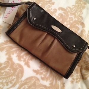 Clutches & Wallets - Reduced from $25 black & tan flap wristlet