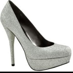 Shoes - Bakers Glitter Silver Platform Pumps