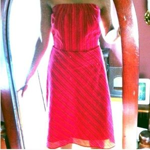red striped Banana Republic strapless dress