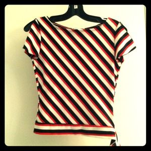 Tops - Striped boat neck top