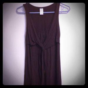 Brown pleated shift tank dress.