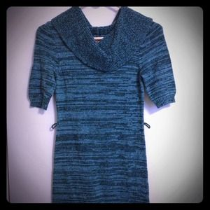 Dresses & Skirts - Turquoise striped shift sweater dress.