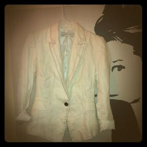White Zara Blazer with Black Stitching
