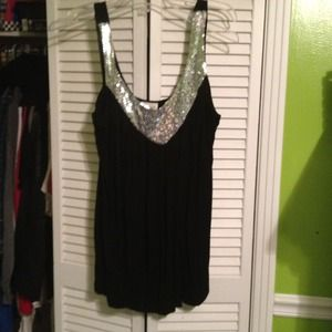 Tops - RESERVED Black and Silver sequin Top