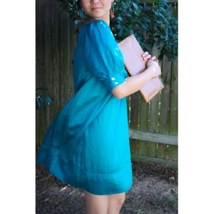The Limited Dresses & Skirts - {reserve@karashawn} Turquoise satin shift dress