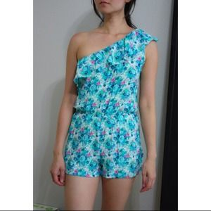 Other - Asymmetrical blue floral romper