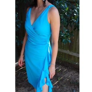 Express Dresses & Skirts - Bright blue dress with ruffled side