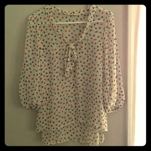 Tea n Rose Polka Dot Top