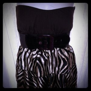 Reduced!Brown animal print tube dress with belt