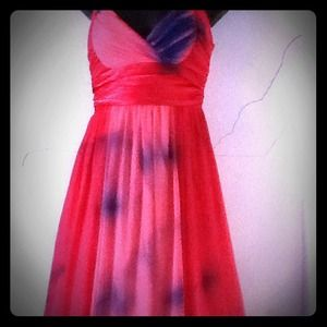Dresses & Skirts - Pink nd red dress I spray paintd to add some spice