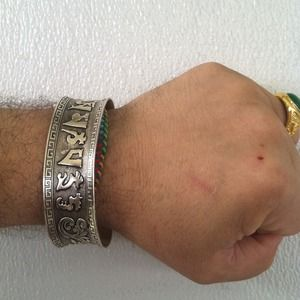 Jewelry - Hand finished tibetan silver prayer bracelet