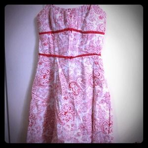 Paisley Red and white sweetheart A line dress