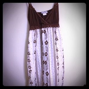 Brown and white floral A Line dress w/ polka dots