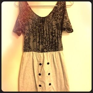 Gray & black cutout floral Dress