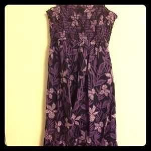 Purple a line floral dress with polka dot leaves