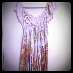 Paisley White and brown A Line Dress