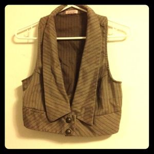 Tops - Striped brown button down Vest
