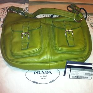 Prada Handbags - Pebbled Green leather Daino Vitello Prada Hobo