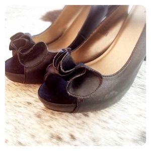 Shoes - HALF OFF SALE | Black RUFFLED Heel