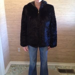 Jackets & Blazers - Heavy black faux fur zip up jacket size med/large